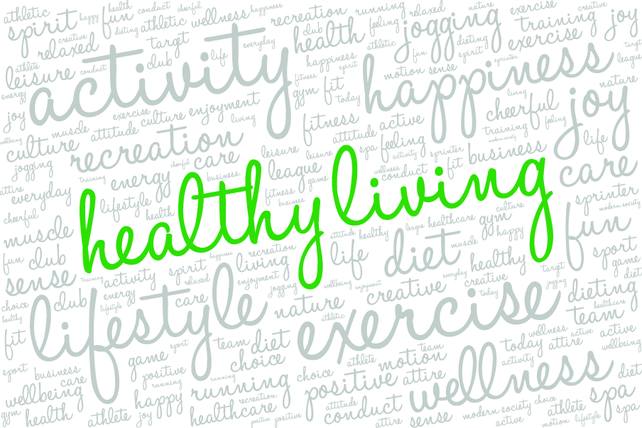 An image with multiple terms written out regarding living healthy.